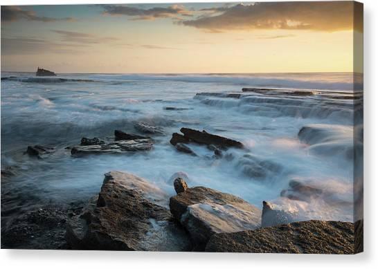 Rocky Seashore During Sunset Canvas Print