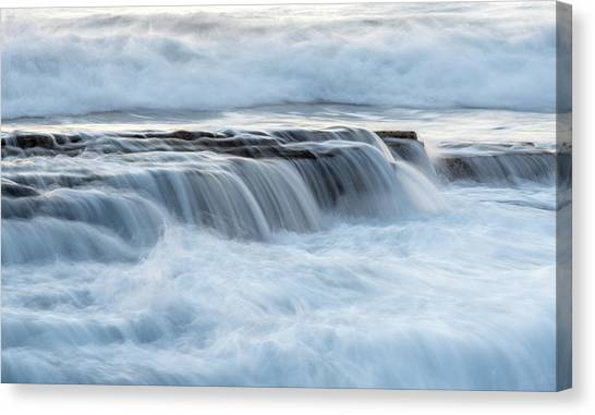 Rocky Seashore With Wavy Ocean And Waves Crashing On The Rocks  Canvas Print