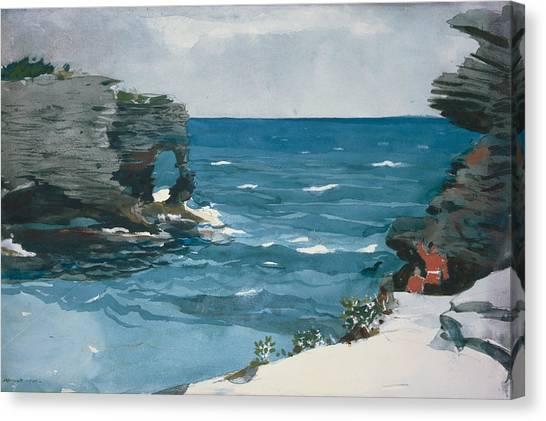 Winslow Canvas Print - Rocky Shore, Bermuda by Winslow Homer