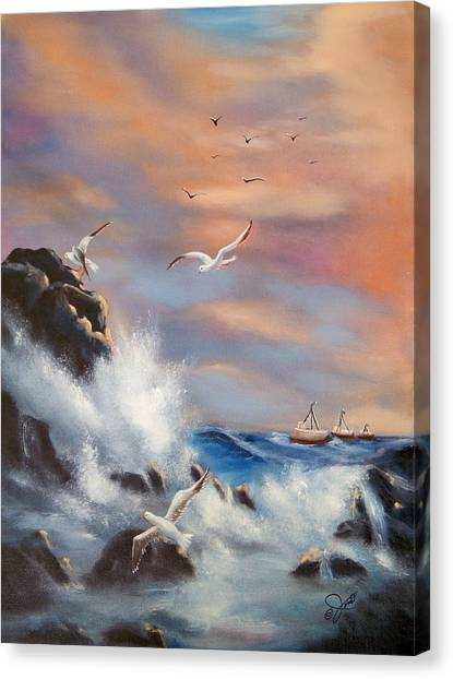 Rocky Shore Canvas Print by Joni McPherson