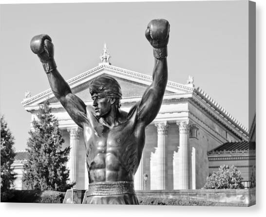 Sylvester Stallone Canvas Print - Rocky Statue - Philadelphia by Brendan Reals