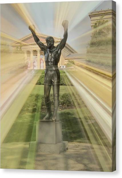 Philly Canvas Print - Rocky Statue by Trish Tritz