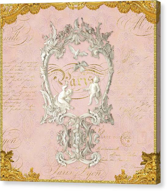 Rococo Art Canvas Print - Rococo Versailles Palace 1 Baroque Plaster Vintage by Audrey Jeanne Roberts