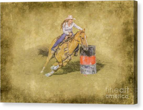 Barrel Racing Canvas Print - Rodeo Barrel Racing by Randy Steele