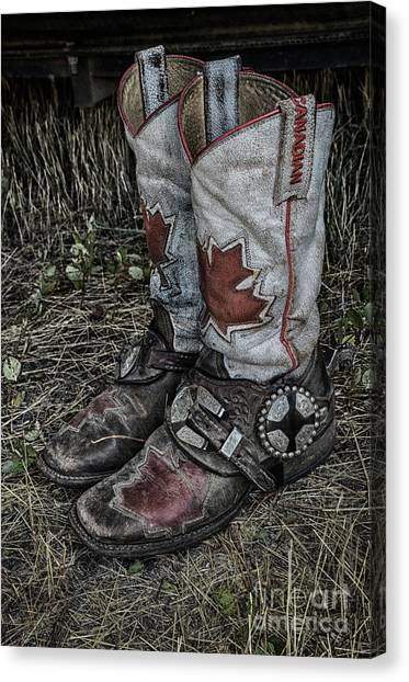 Barrel Racing Canvas Print - Rodeo Boots 2 by Bob Christopher