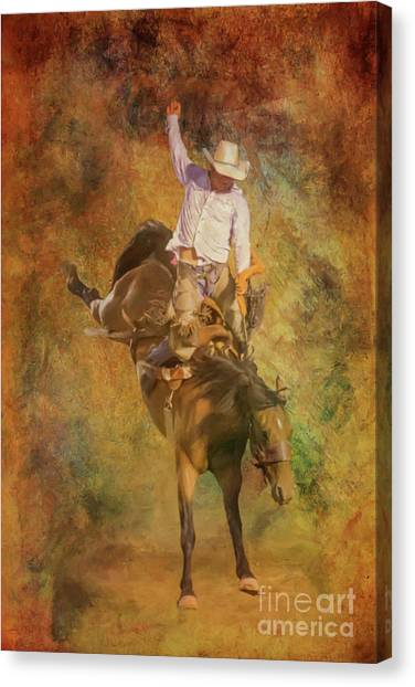 Bull Riding Canvas Print - Rodeo Bronco Riding Three by Randy Steele