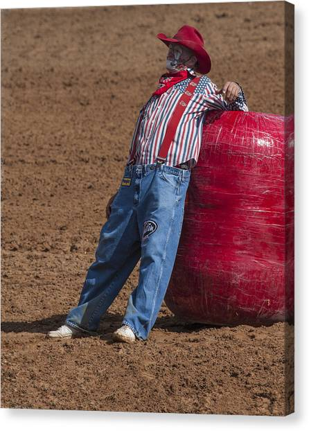 Rodeo Clown Canvas Print - Rodeo Clown Resting by Sally Weigand
