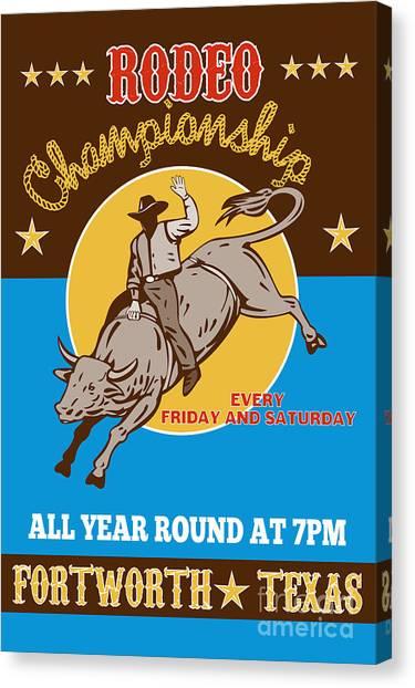 Bull Riding Canvas Print - Rodeo Cowboy Bull Riding Poster by Aloysius Patrimonio