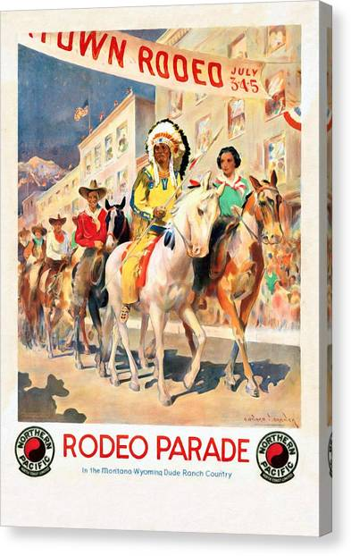 Rodeo Parade - Vintage Poster Restored Canvas Print