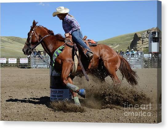 Barrel Racing Canvas Print - Rodeo Stars 14 by Bob Christopher
