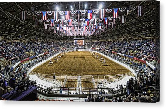 Bull Riding Canvas Print - Rodeo Time In Texas by Stephen Stookey
