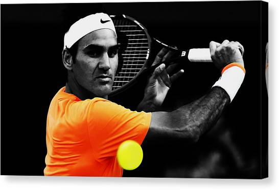 Andy Roddick Canvas Print - Roger Federer 4c by Brian Reaves