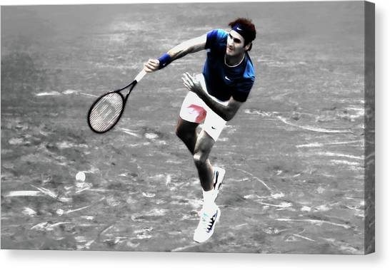 Andy Roddick Canvas Print - Roger Federer 4v by Brian Reaves