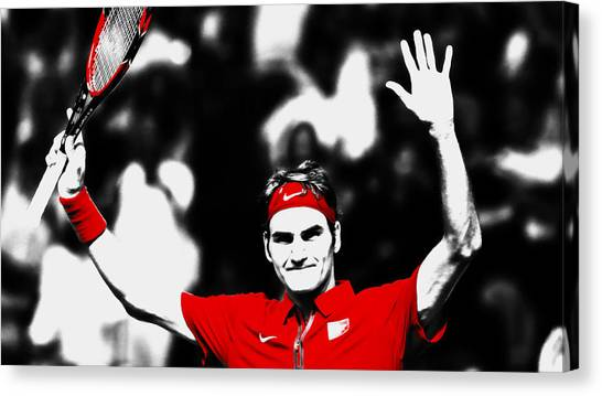 Andy Roddick Canvas Print - Roger Federer Another Victory by Brian Reaves