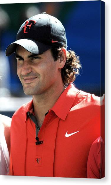 Roger Federer Canvas Print - Roger Federer In Attendance For Arthur by Everett