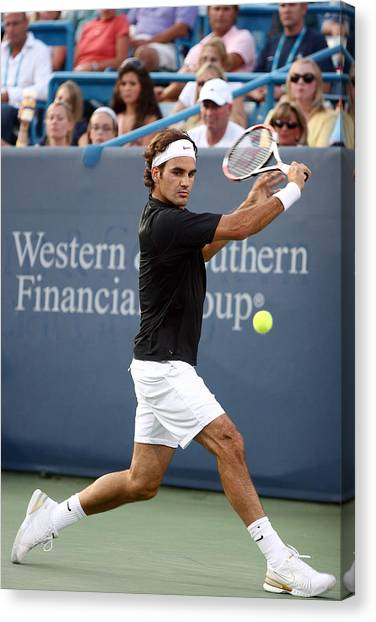 Tennis Pros Canvas Print - Roger Federer by Keith Allen
