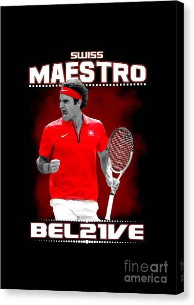 Roger Federer Canvas Print - Roger Federer Maestro by Cami Setas