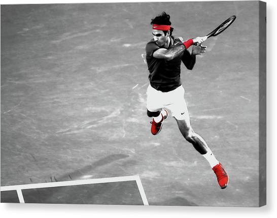 Andre Agassi Canvas Print - Roger Federer Powerful Return by Brian Reaves