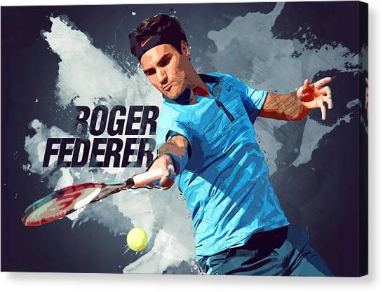 Serena Williams Canvas Print - Roger Federer by Semih Yurdabak