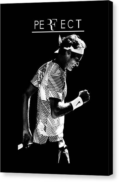 Roger Federer Canvas Print - Roger Federer Silhouette by Zendy Vermouthen