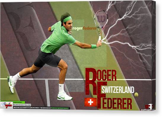 Tennis Players Canvas Print - Roger Federer by Super Lovely