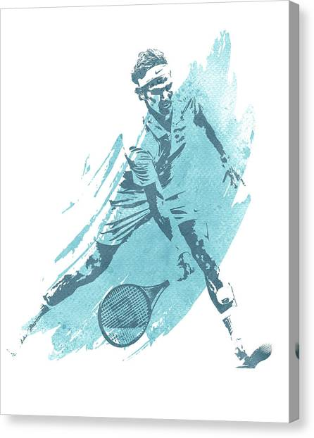 Tennis Racquet Canvas Print - Roger Federer Tennis Water Color Art 1 by Joe Hamilton