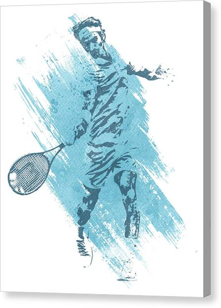 Tennis Racquet Canvas Print - Roger Federer Tennis Water Color Art 2 by Joe Hamilton