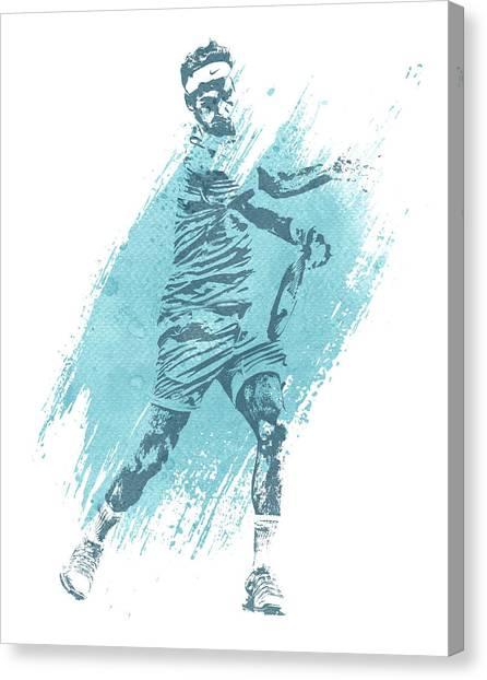 Roger Federer Canvas Print - Roger Federer Tennis Water Color Art 4 by Joe Hamilton