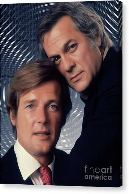Stardom Canvas Print - Roger Moore And Tony Curtis, The Persuaders by Mary Bassett
