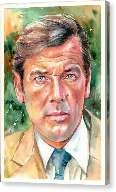 Roger Canvas Print - Roger Moore Portrait 007 James Bond by Suzann's Art