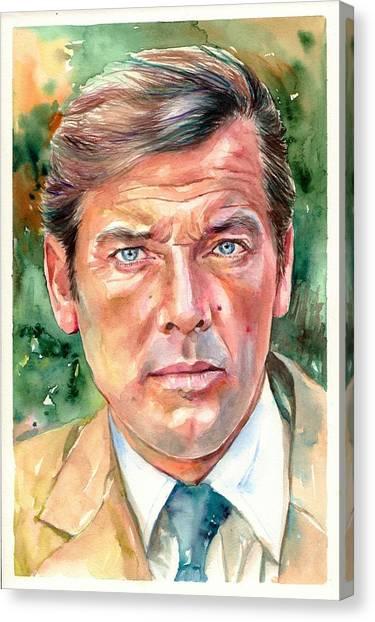 Fauvism Canvas Print - Roger Moore Portrait 007 James Bond by Suzann's Art