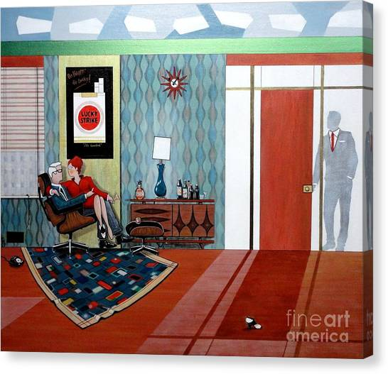 Roger Sterling And Joan Sitting In An Eames Canvas Print