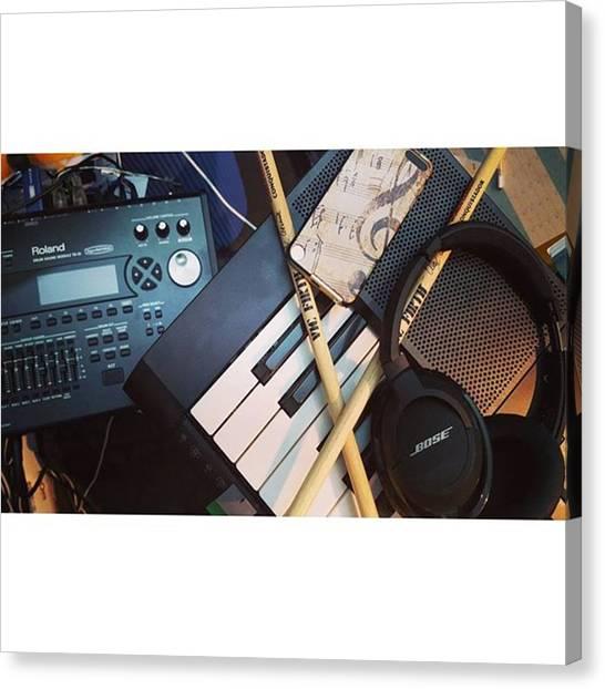 Keyboards Canvas Print - #roland #rolanddrums #bose by Piers Burgoyne
