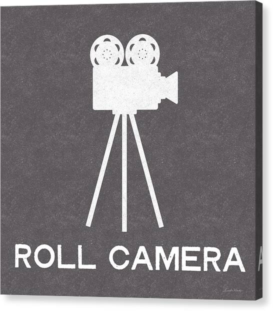 Black And White Art Canvas Print - Roll Camera- Art By Linda Woods by Linda Woods