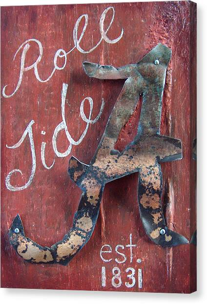 Tides Canvas Print - Roll Tide by Racquel Morgan