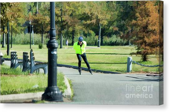 Rollerblading Canvas Print - Roller Blades Corona Park Ny by Chuck Kuhn