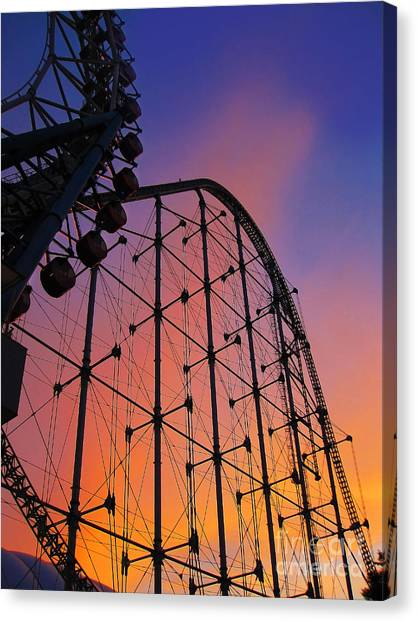 Roller Coaster At Sunset Canvas Print