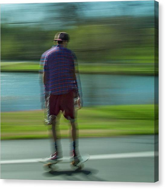 Rollerblading Canvas Print - Rollerbladers In Forest Park by Garry McMichael