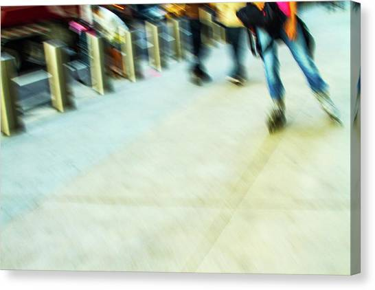 Roller Skating Canvas Print - Rolling Blading In Nyc by Karol Livote