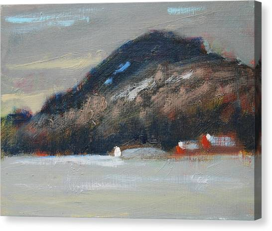 Red Barn In Winter Canvas Print - Rolling Hill Study by Len Stomski