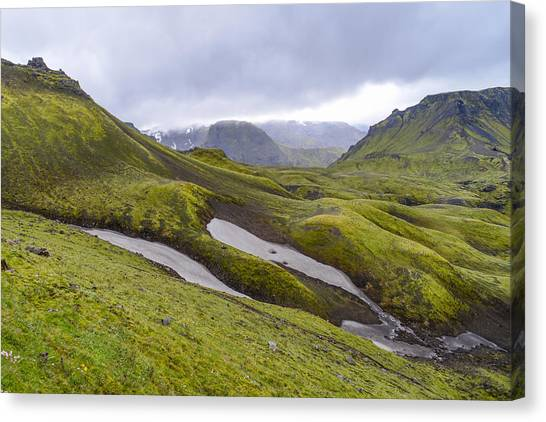 Rolling Lava Flows Entering Iceland's Thorsmork Nature Reserve Canvas Print