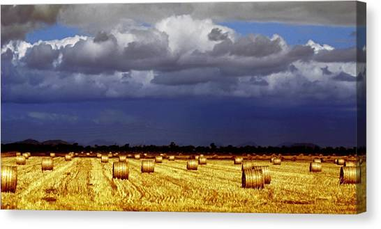 Hay Bales Canvas Print - Rolling On by Holly Kempe