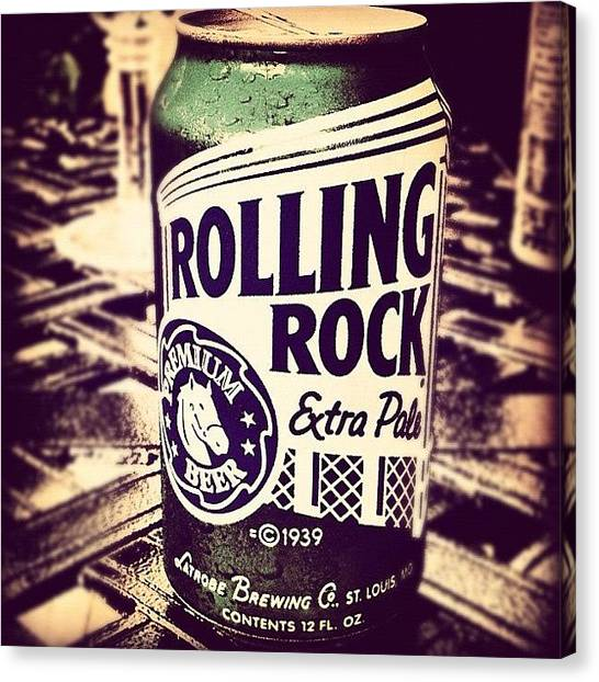 Landmarks Canvas Print - Rolling Rock. #american #beer by Marc Plouffe