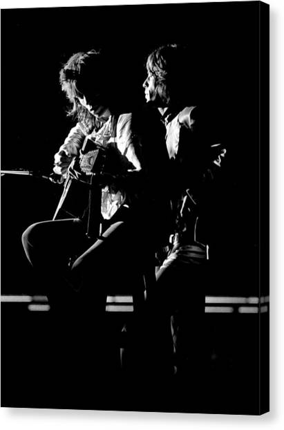 Keith Richards Canvas Print - Rolling Stones 1970 Mick And Keith Live by Chris Walter