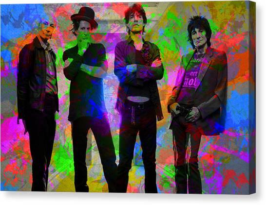 Rolling Stones Canvas Print - Rolling Stones Band Portrait Paint Splatters Pop Art by Design Turnpike