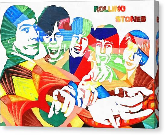Mick Jagger And Keith Richards Canvas Print - Rolling Stones Colorful Abstract by Dan Sproul