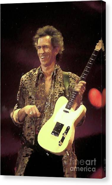 Keith Richards Canvas Print - Rolling Stones Keith Richards Painting by Concert Photos