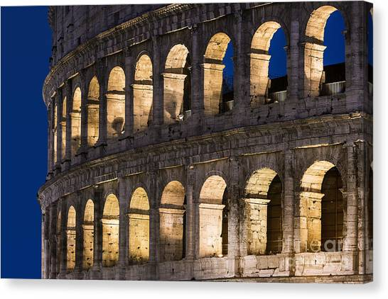 The Colosseum Canvas Print - Roman Coliseum At Night by John Greim