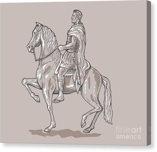 Roman Emperor Riding Horse Canvas Print by Aloysius Patrimonio