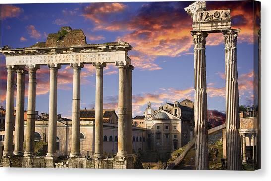 Roman Forum On Fire Canvas Print